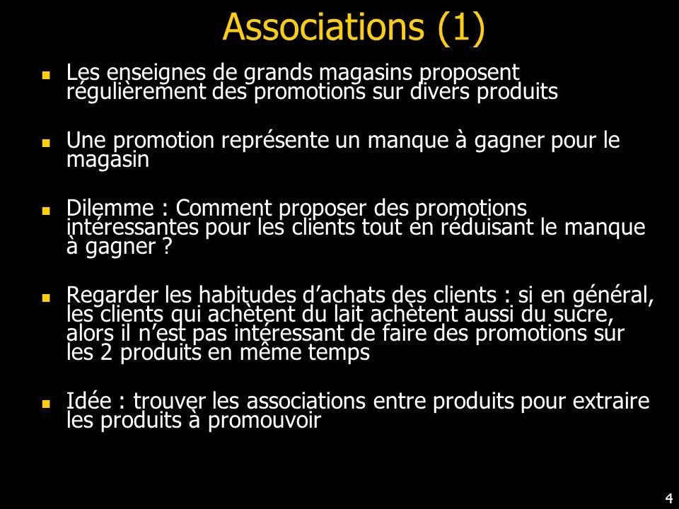 Associations (1) Les enseignes de grands magasins proposent régulièrement des promotions sur divers produits.