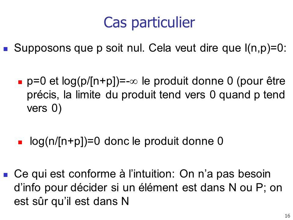 Cas particulier Supposons que p soit nul. Cela veut dire que I(n,p)=0: