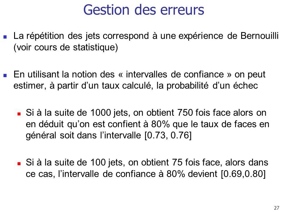 Gestion des erreurs La répétition des jets correspond à une expérience de Bernouilli (voir cours de statistique)