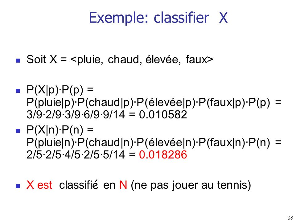 Exemple: classifier X Soit X = <pluie, chaud, élevée, faux>