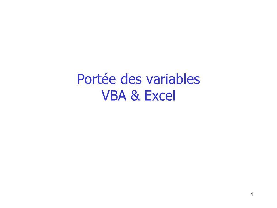 Portée des variables VBA & Excel