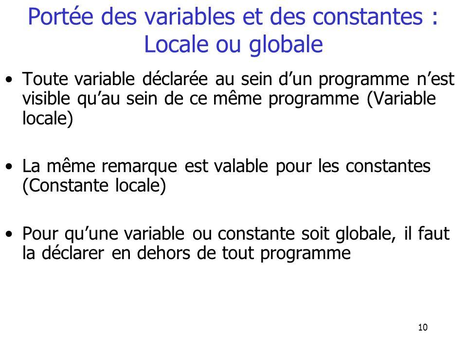 Portée des variables et des constantes : Locale ou globale
