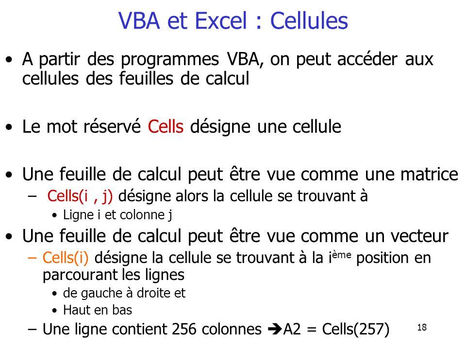 VBA et Excel : Cellules A partir des programmes VBA, on peut accéder aux cellules des feuilles de calcul.