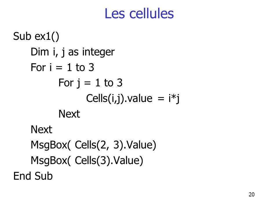 Les cellules Sub ex1() Dim i, j as integer For i = 1 to 3