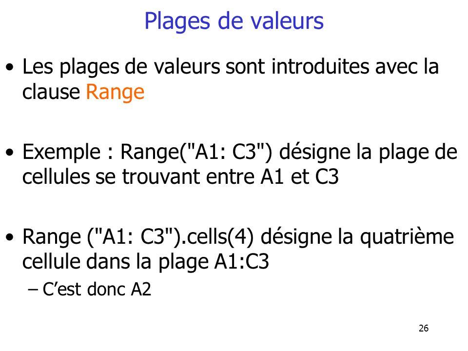 Plages de valeurs Les plages de valeurs sont introduites avec la clause Range.