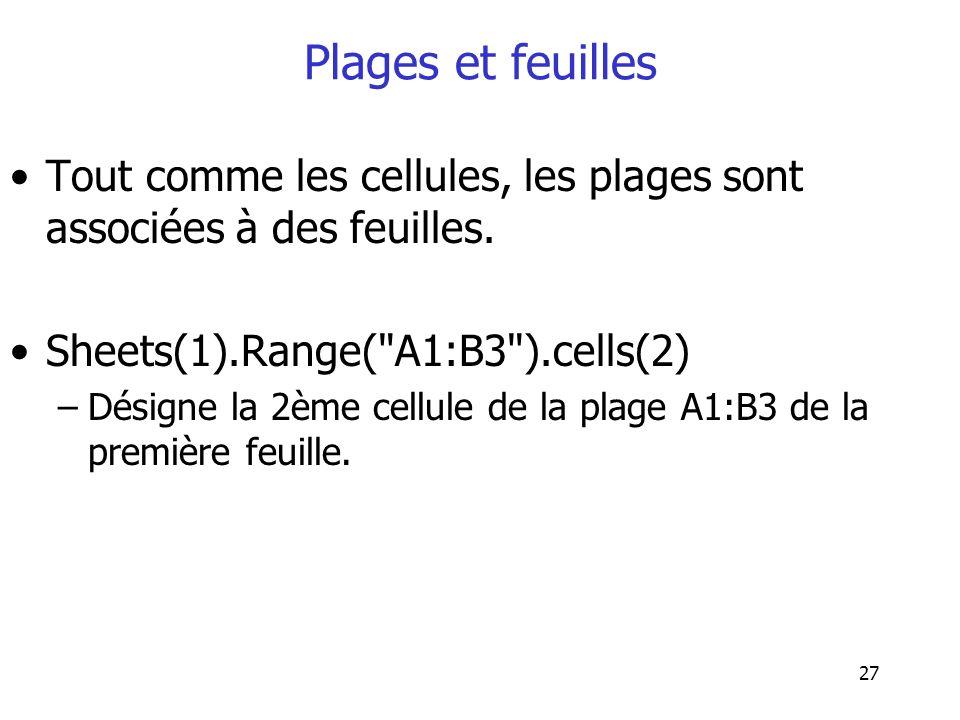 Plages et feuilles Tout comme les cellules, les plages sont associées à des feuilles. Sheets(1).Range( A1:B3 ).cells(2)