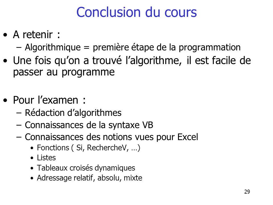 Conclusion du cours A retenir :