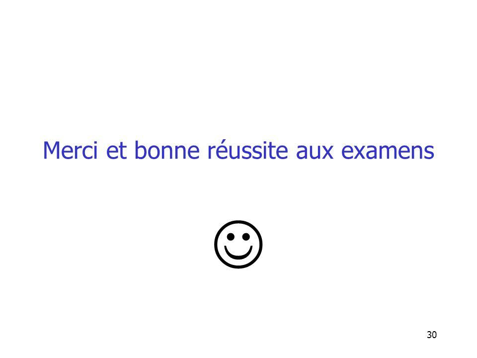 Merci et bonne réussite aux examens