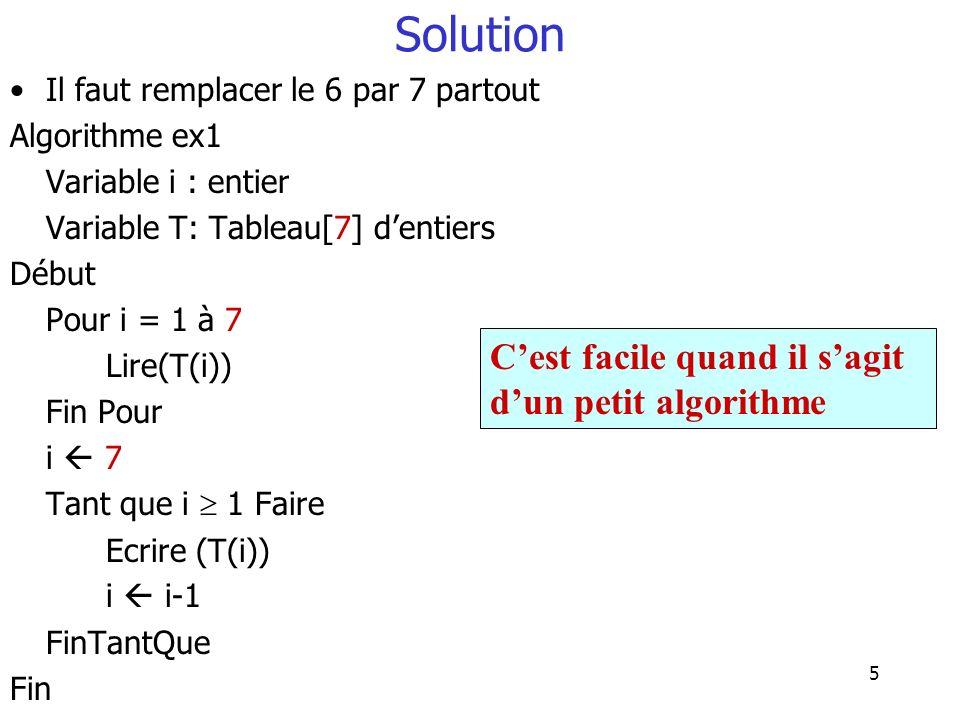 Solution C'est facile quand il s'agit d'un petit algorithme