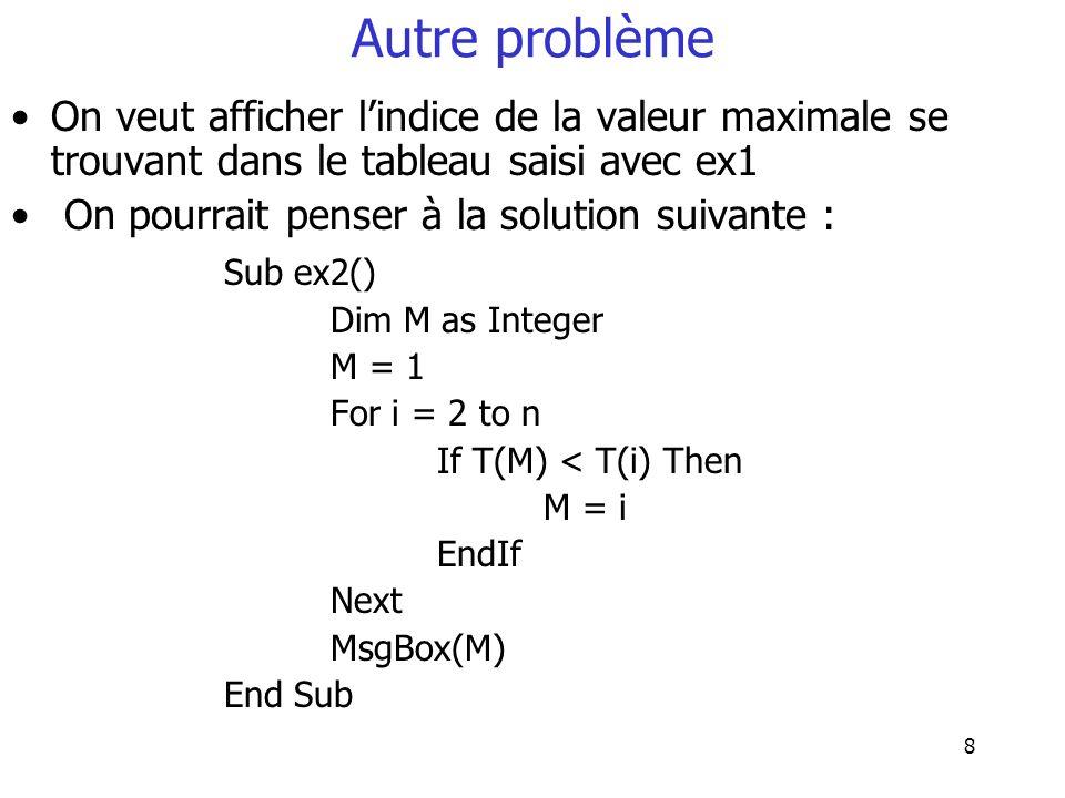 Autre problème On veut afficher l'indice de la valeur maximale se trouvant dans le tableau saisi avec ex1.