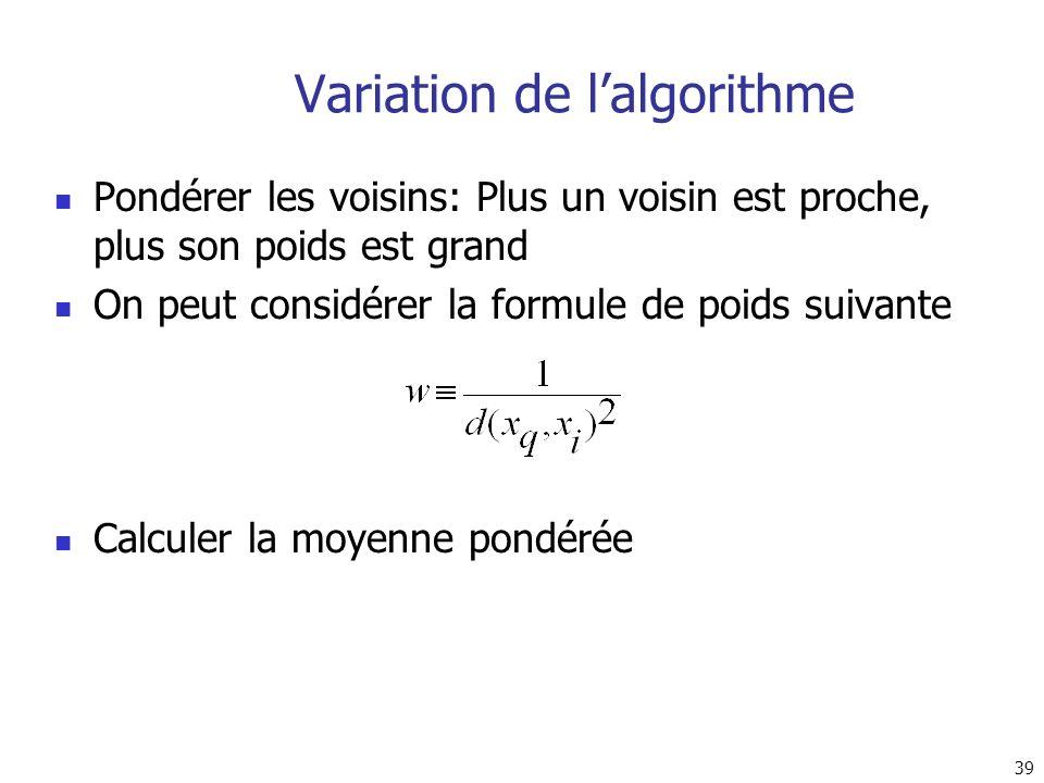 Variation de l'algorithme