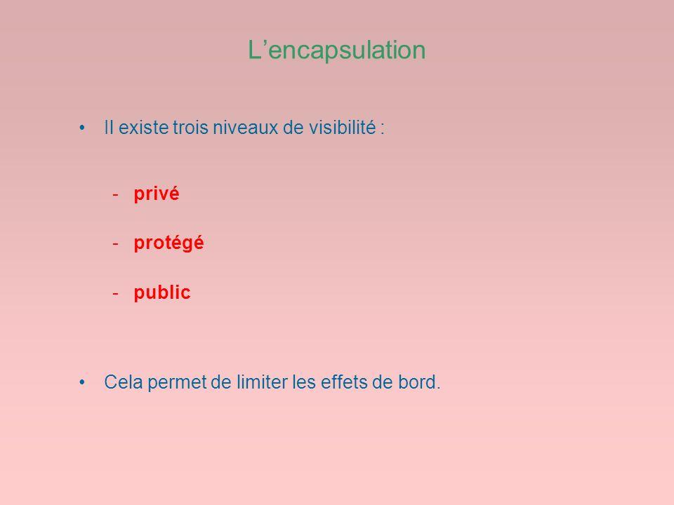 L'encapsulation Il existe trois niveaux de visibilité : privé protégé