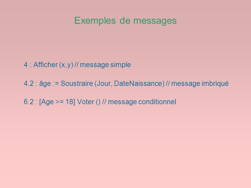 Exemples de messages 4 : Afficher (x,y) // message simple