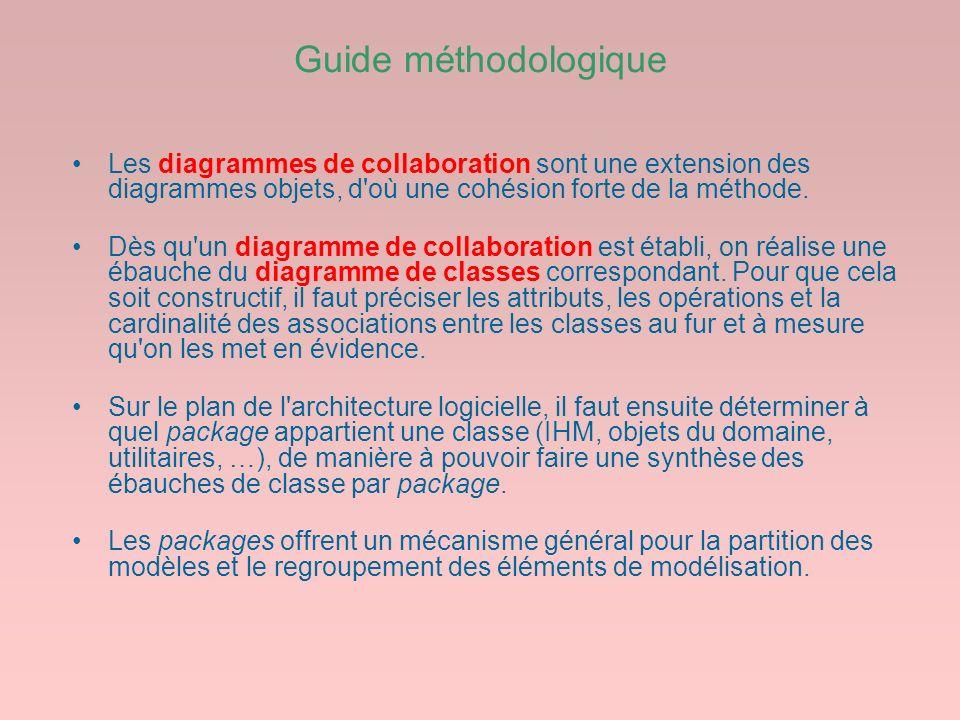 Guide méthodologique Les diagrammes de collaboration sont une extension des diagrammes objets, d où une cohésion forte de la méthode.