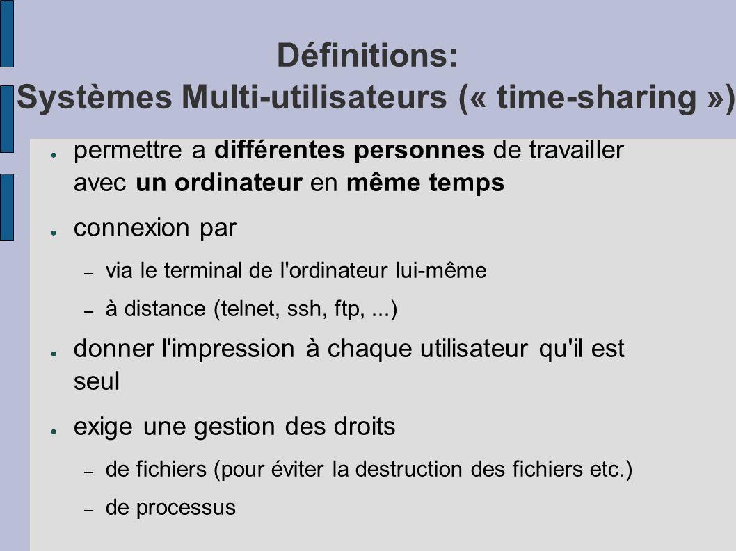 Définitions: Systèmes Multi-utilisateurs (« time-sharing »)