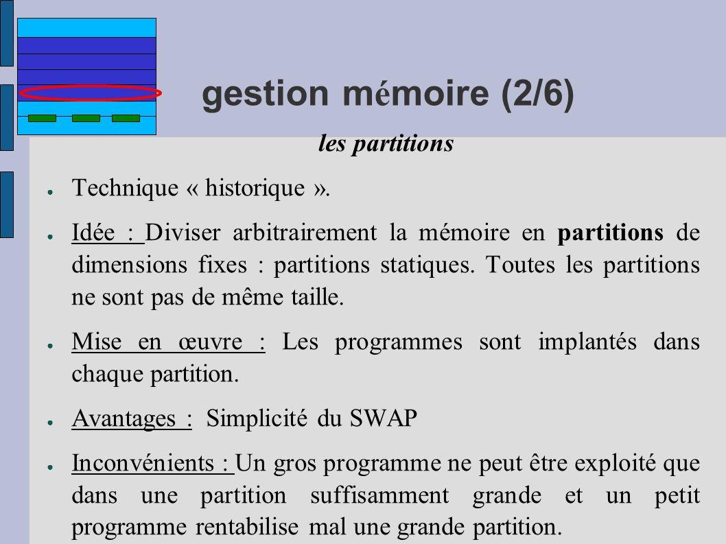 gestion mémoire (2/6) Technique « historique ».