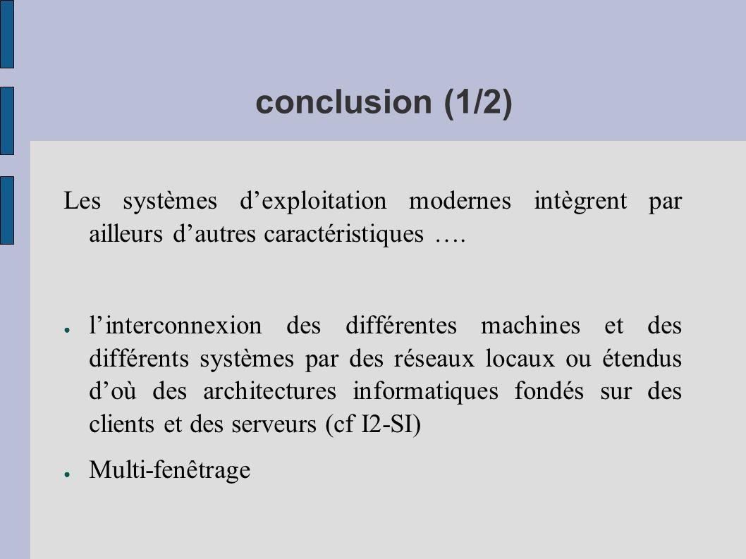 conclusion (1/2) Les systèmes d'exploitation modernes intègrent par ailleurs d'autres caractéristiques ….