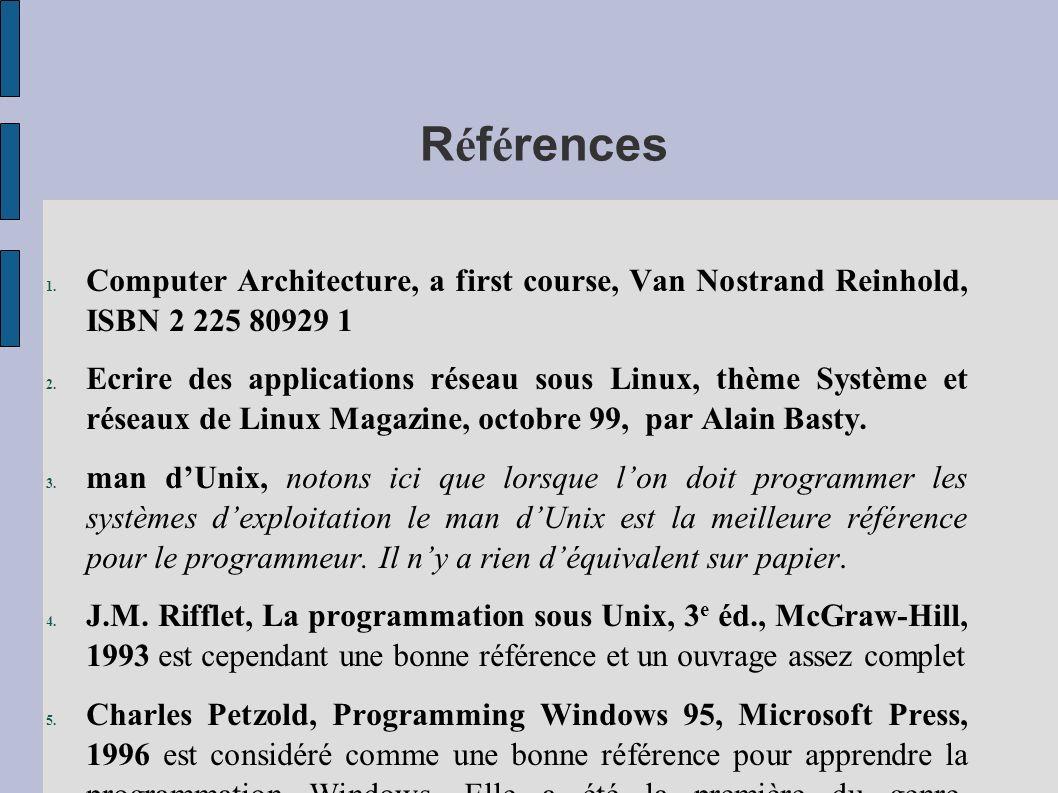RéférencesComputer Architecture, a first course, Van Nostrand Reinhold, ISBN 2 225 80929 1.