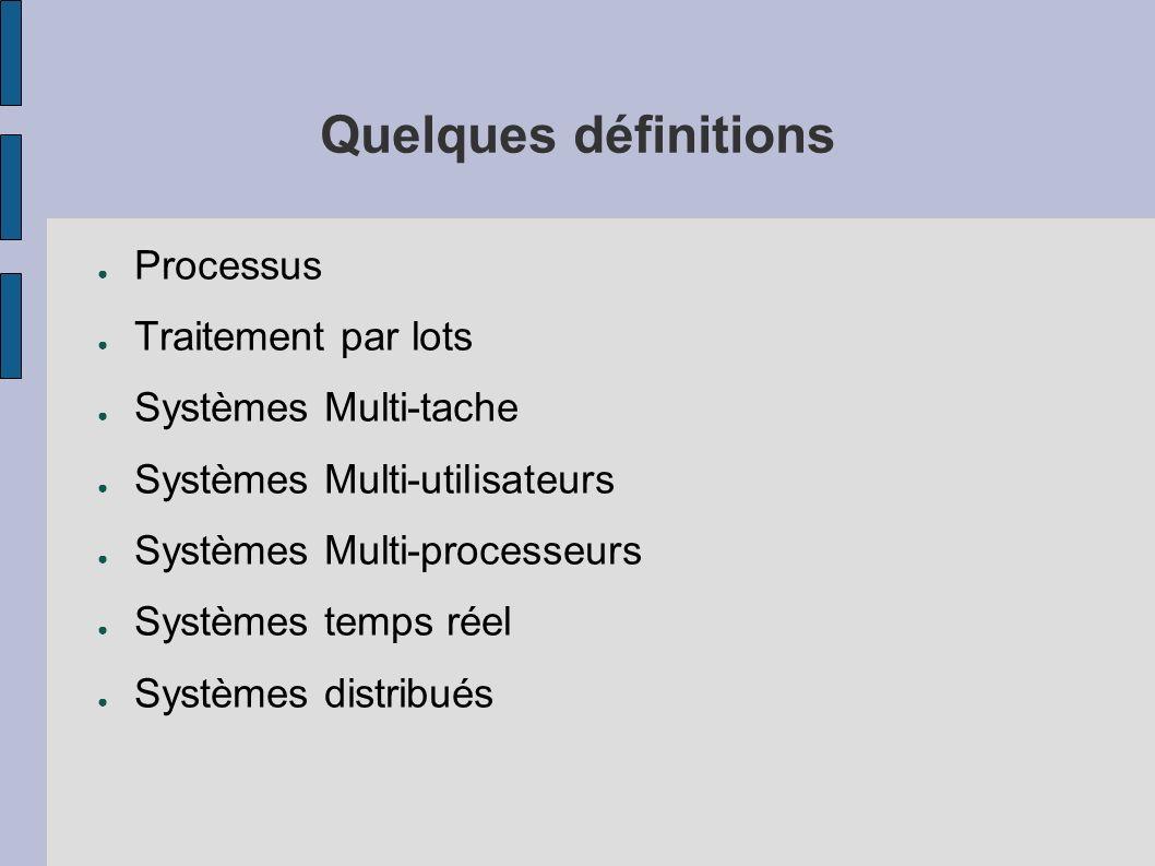 Quelques définitions Processus Traitement par lots