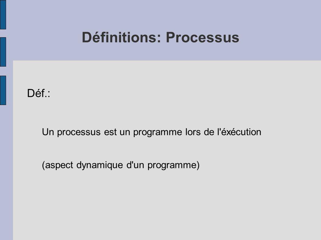 Définitions: Processus