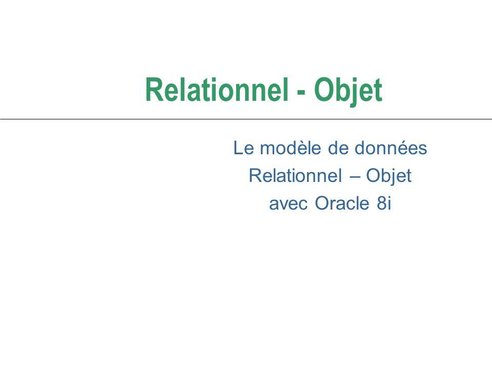 Le modèle Relationnel Objet d Oracle