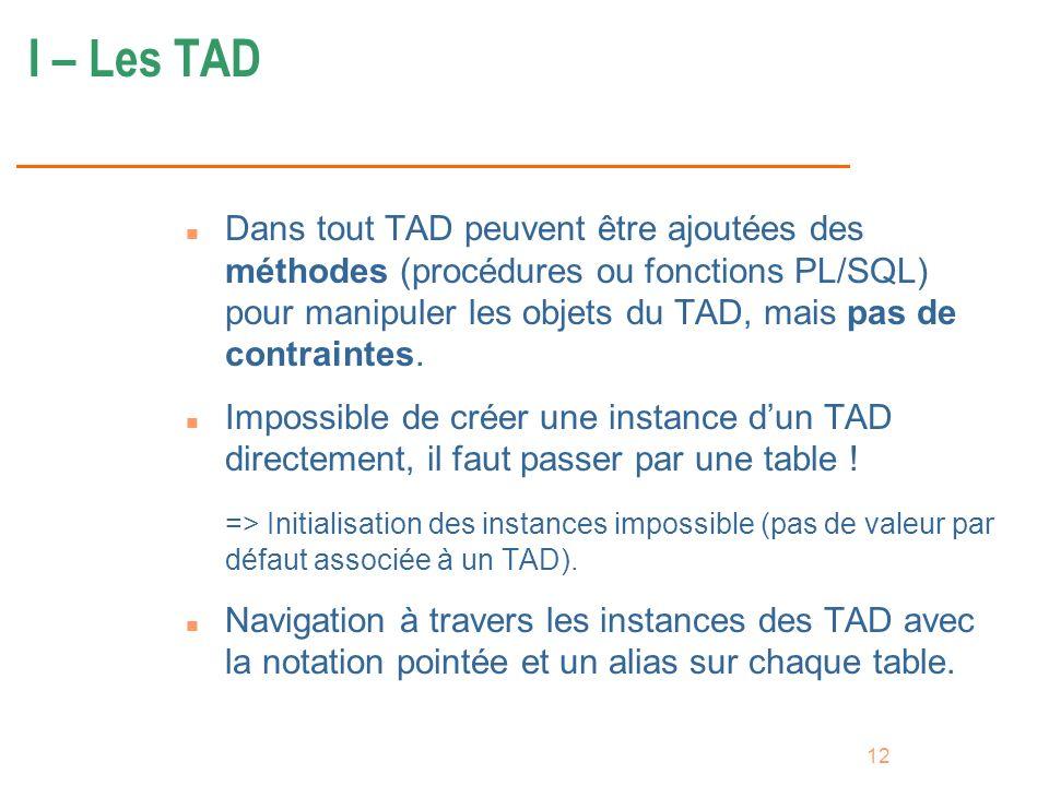 I – Les TAD