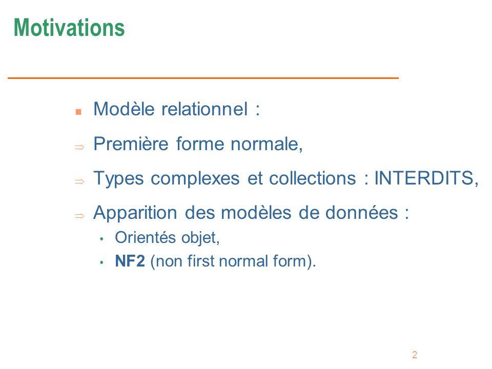 Motivations Modèle relationnel : Première forme normale,