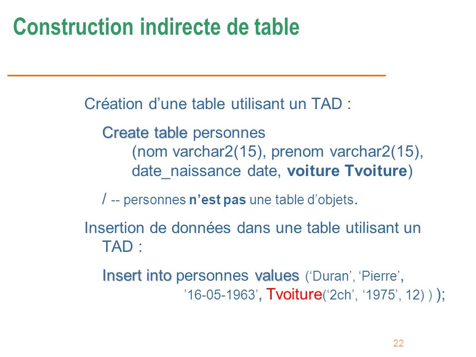Construction indirecte de table
