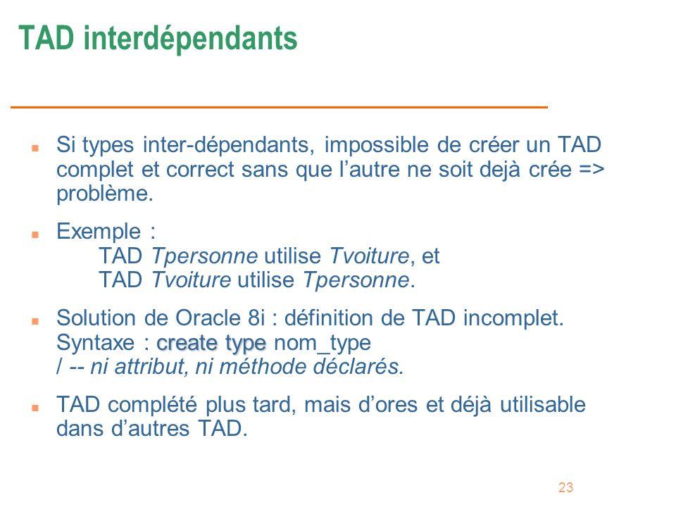 TAD interdépendantsSi types inter-dépendants, impossible de créer un TAD complet et correct sans que l'autre ne soit dejà crée => problème.