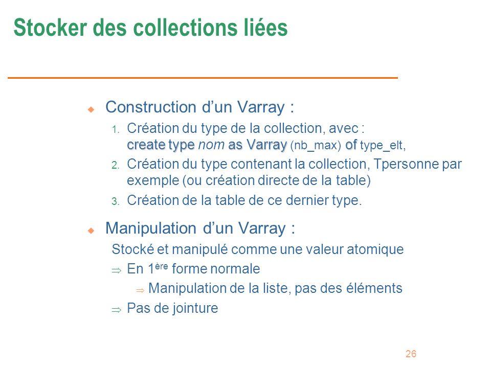 Stocker des collections liées