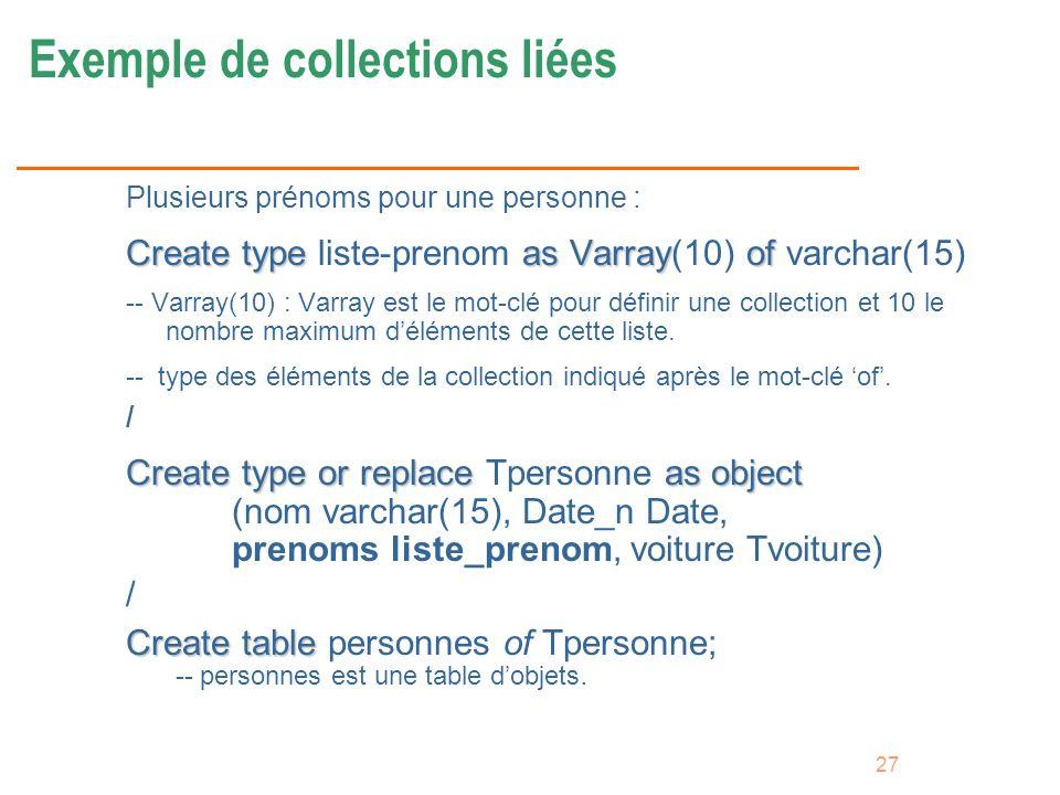 Exemple de collections liées