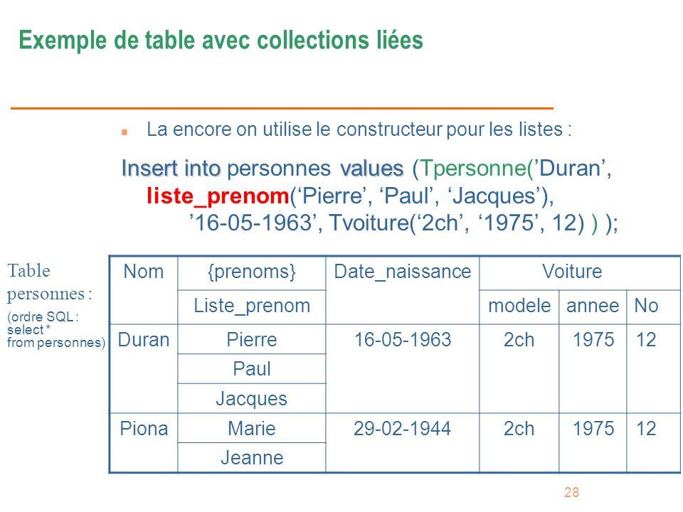 Exemple de table avec collections liées