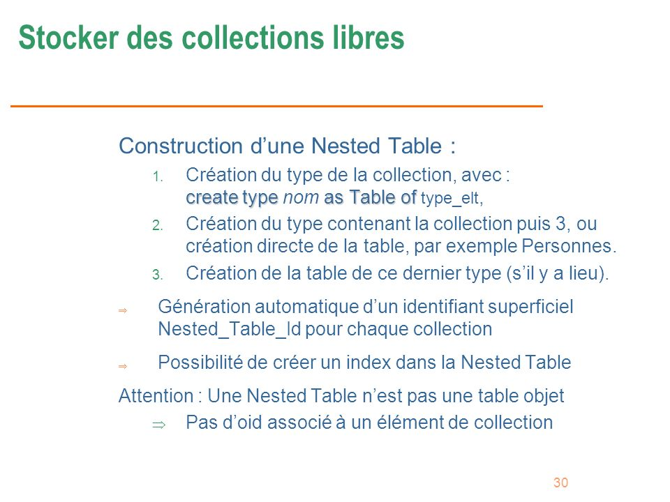 Stocker des collections libres