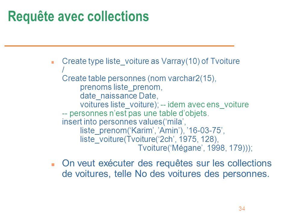 Requête avec collections