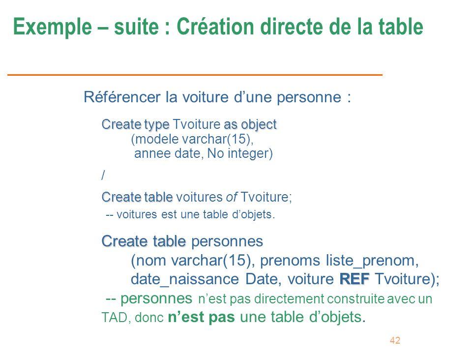 Exemple – suite : Création directe de la table