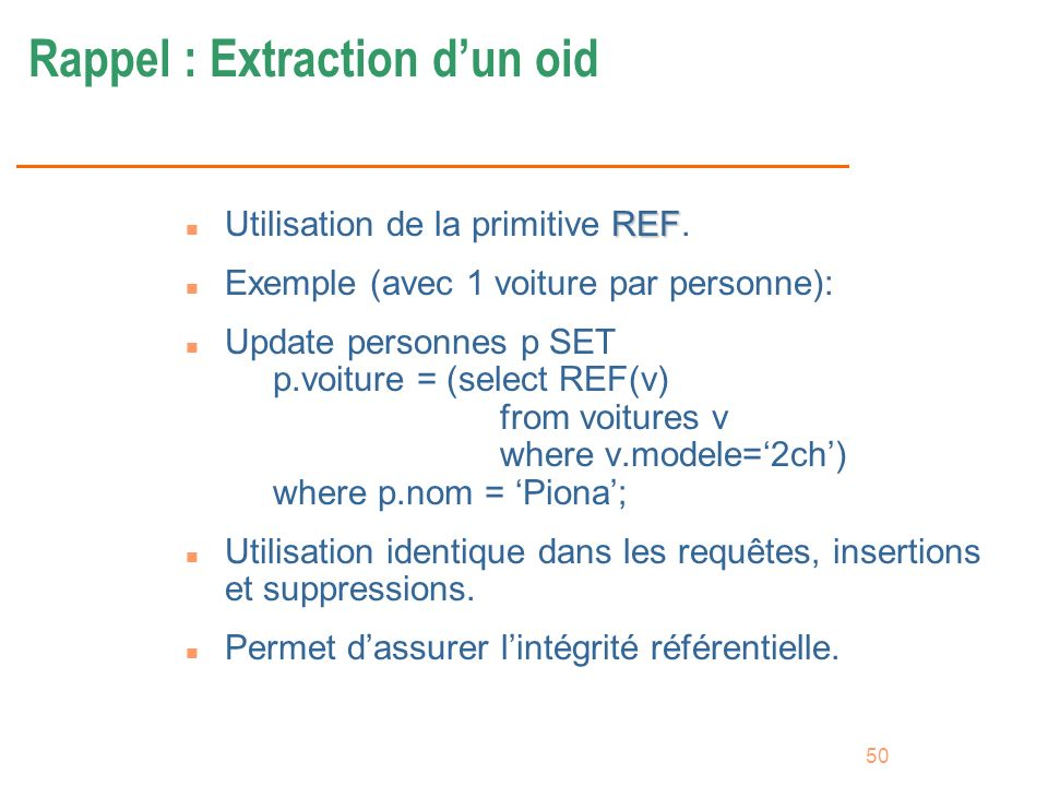 Rappel : Extraction d'un oid