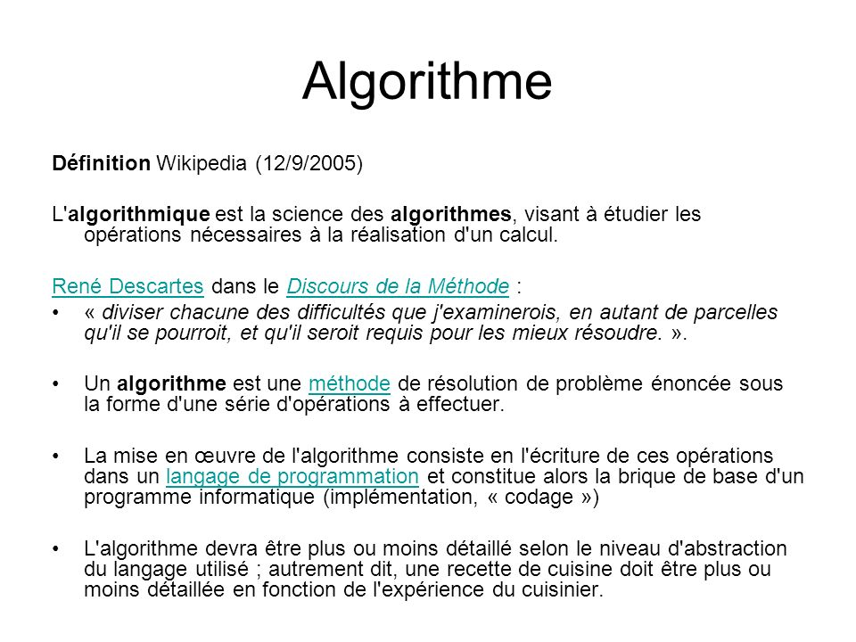 Algorithme Définition Wikipedia (12/9/2005)