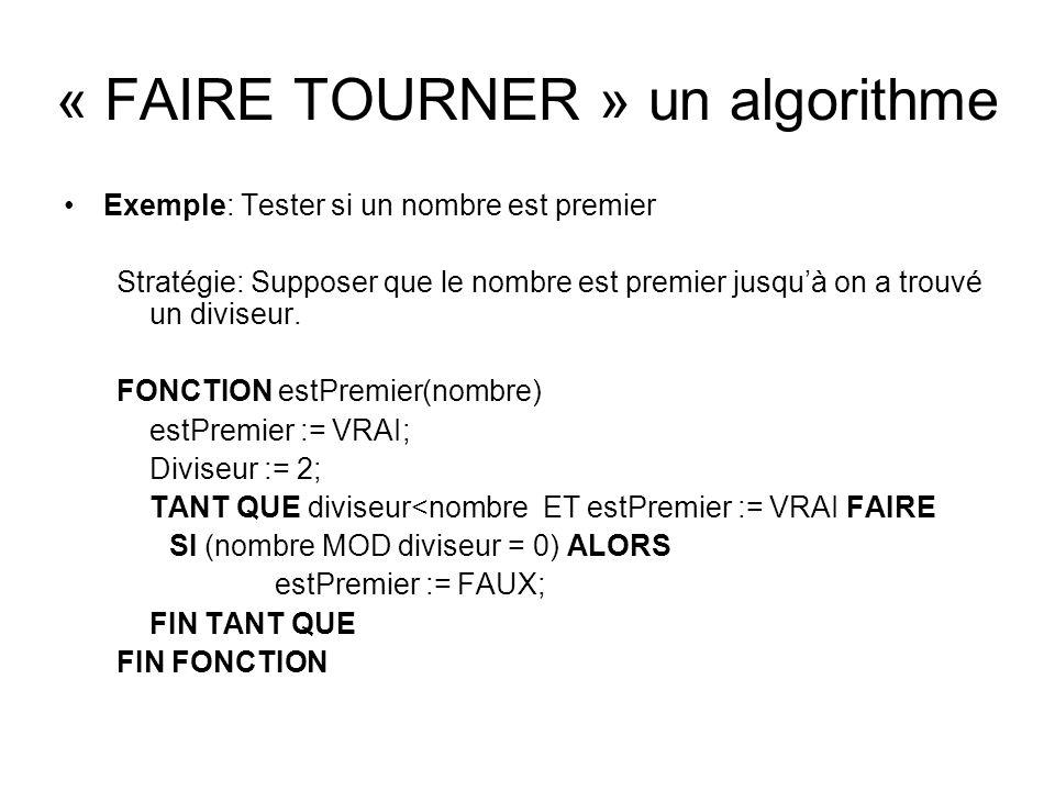 « FAIRE TOURNER » un algorithme