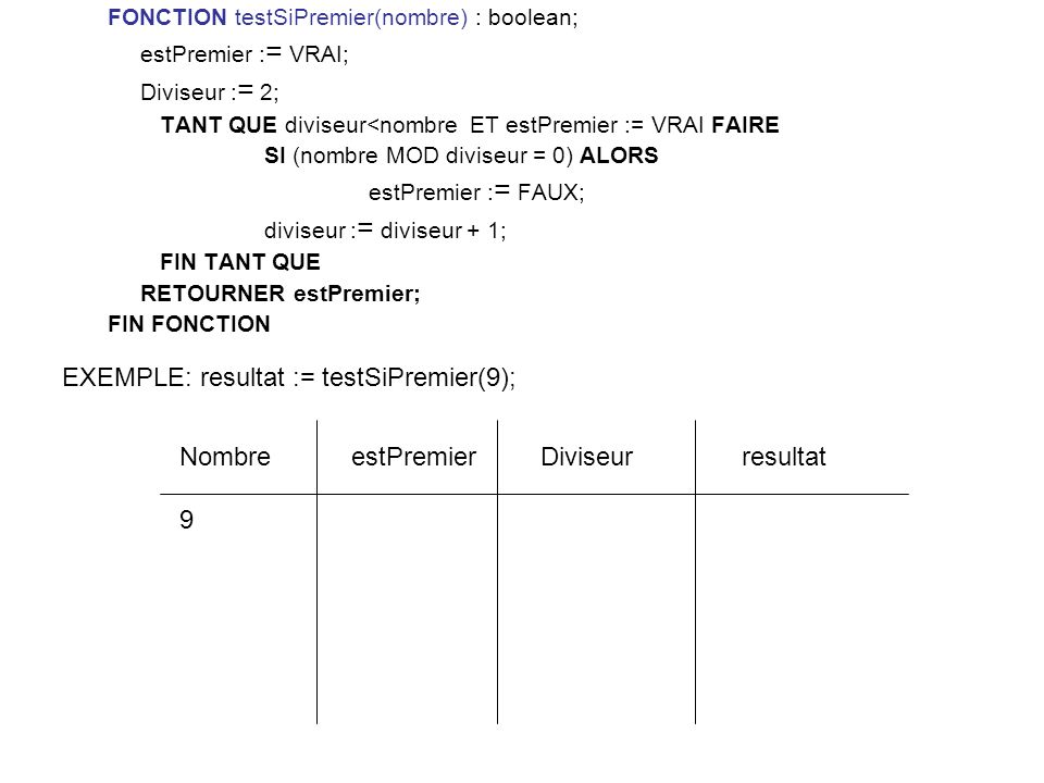 EXEMPLE: resultat := testSiPremier(9);
