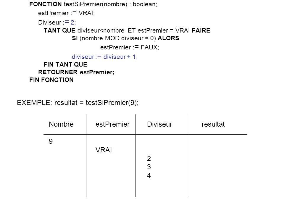 EXEMPLE: resultat = testSiPremier(9);