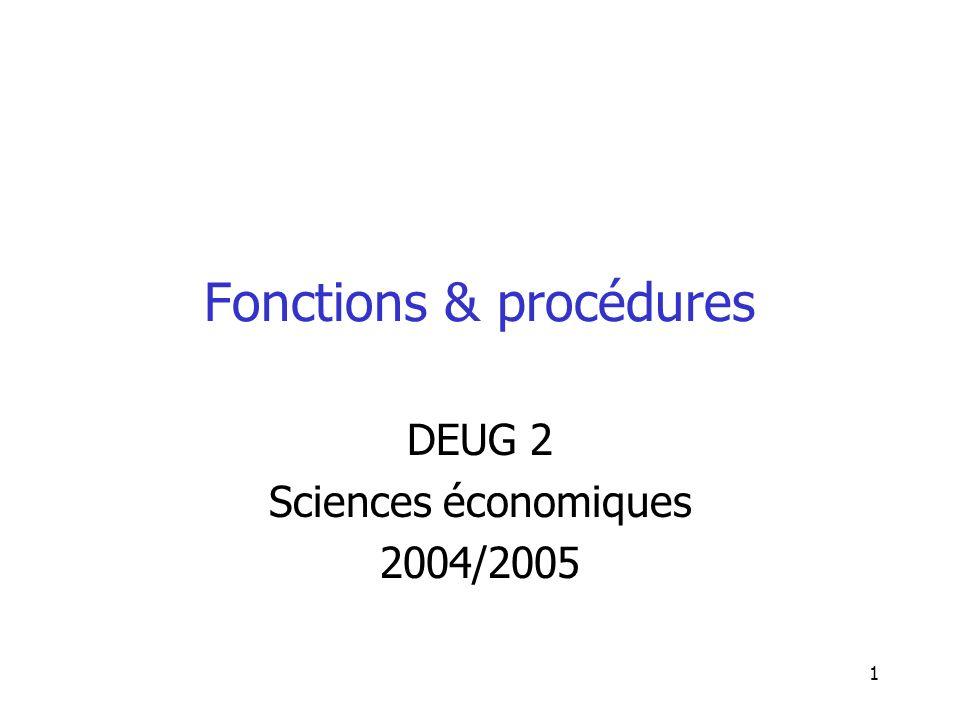 Fonctions & procédures