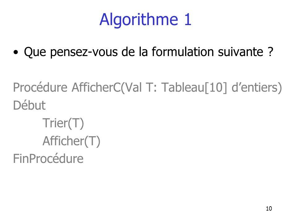Algorithme 1 Que pensez-vous de la formulation suivante