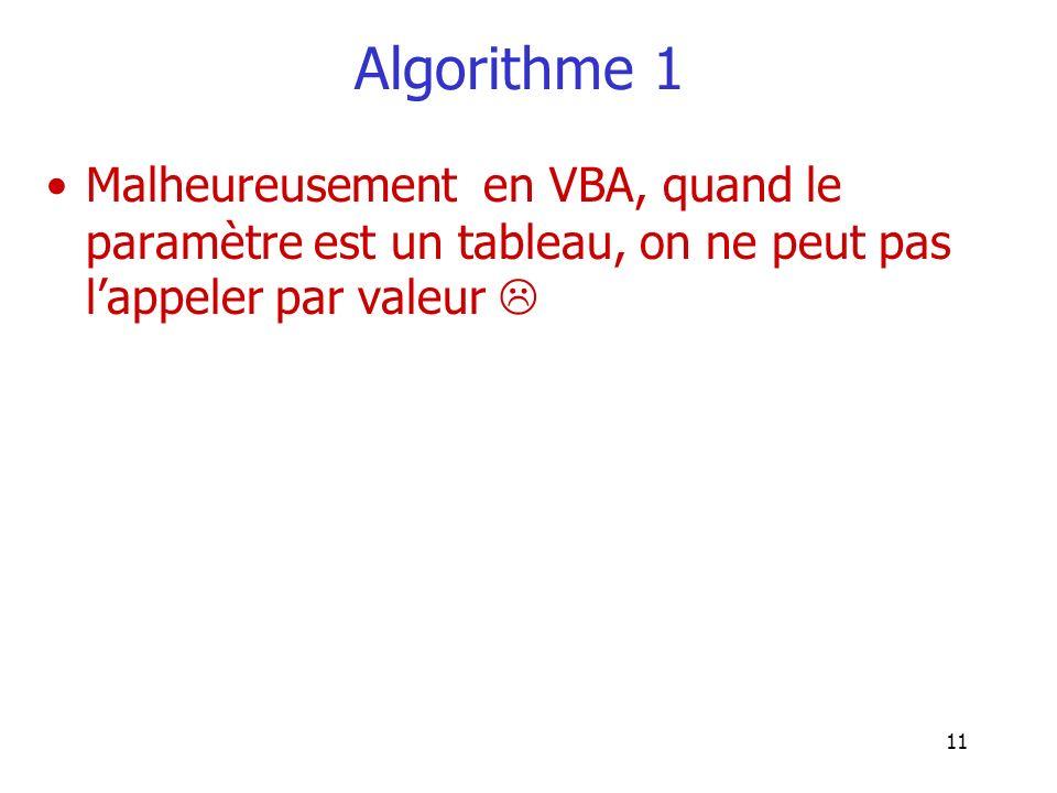 Algorithme 1 Malheureusement en VBA, quand le paramètre est un tableau, on ne peut pas l'appeler par valeur 