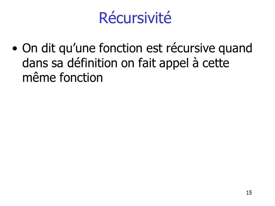 Récursivité On dit qu'une fonction est récursive quand dans sa définition on fait appel à cette même fonction.