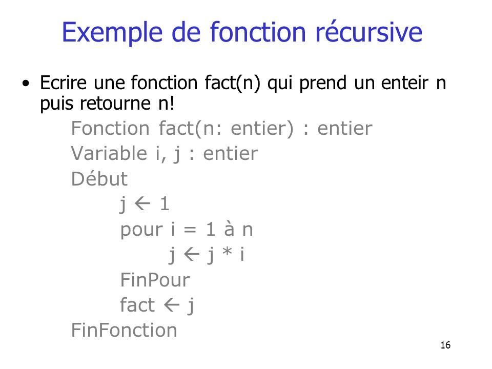 Exemple de fonction récursive