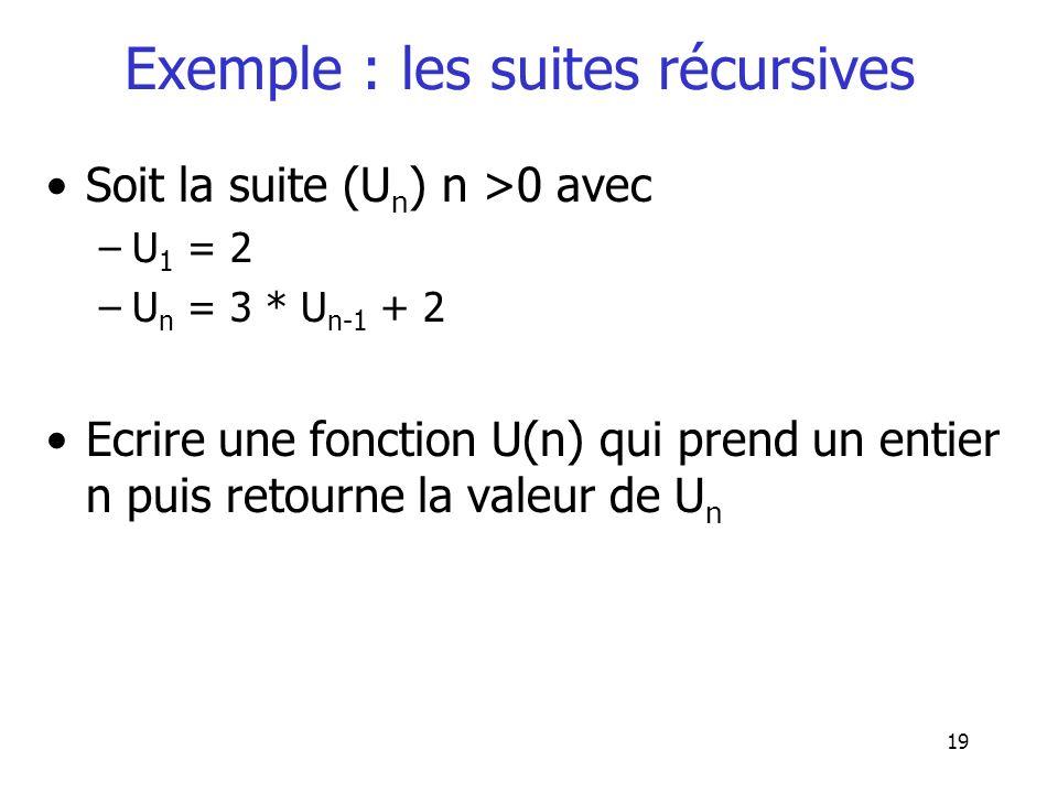 Exemple : les suites récursives