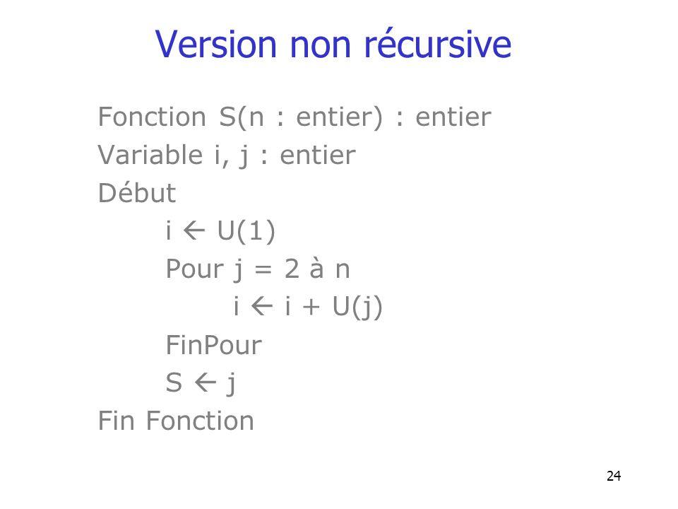Version non récursive Fonction S(n : entier) : entier