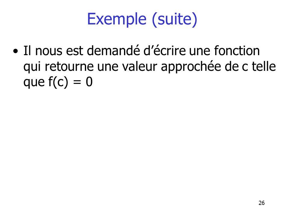 Exemple (suite) Il nous est demandé d'écrire une fonction qui retourne une valeur approchée de c telle que f(c) = 0.