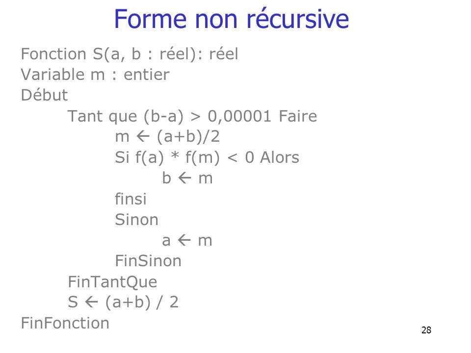Forme non récursive Fonction S(a, b : réel): réel Variable m : entier