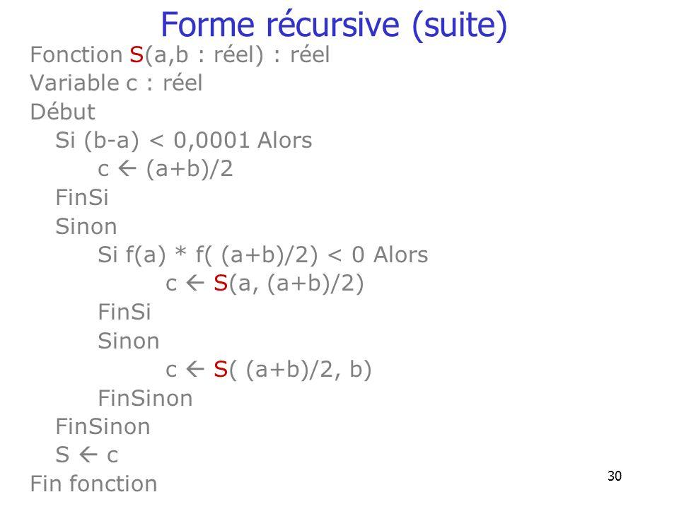 Forme récursive (suite)